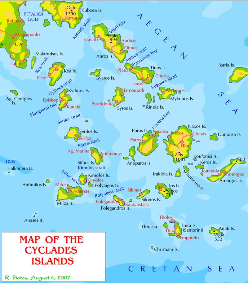Karte Griechenland Mykonos.Kykladen übersichtskarte